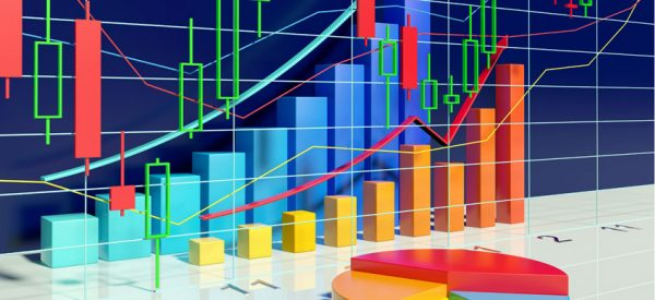 Background with growing bar graphs and pie chart with stock diagram